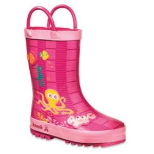 NWT Kamik Pink Octopus Rose Youth Rainboots
